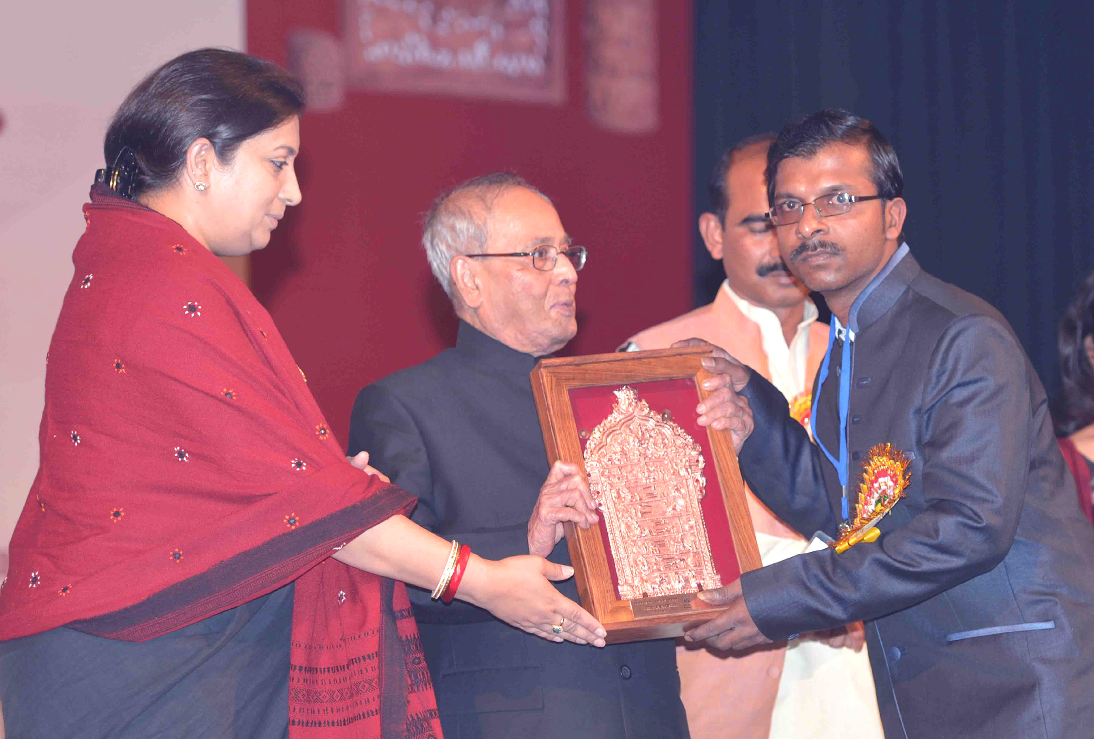 image of Hon'ble President of India, Shri Pranab Mukherjee conferred the National Awards & Shilp Guru Awards to master craftsperson for the year 2015 at Rashtrapati Bhavan, Cultural Center, New Delhi.